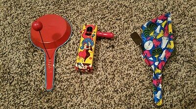 3 Antique Tin New Years Noisemakers from the 30s-40s