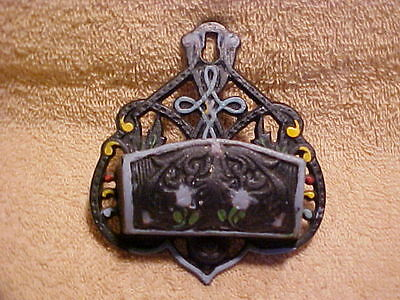 Vintage Wilton Hand Painted Cast Iron Match Holder - Wall Mount