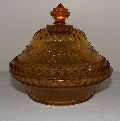 L.G. Wright WILDFLOWER Amber CANDY DISH with LID