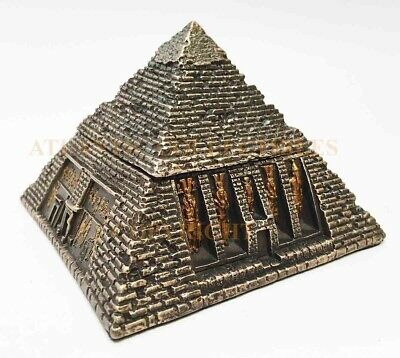 Ancient Egyptian Gods Bronze Finish Pyramid Jewelry Box Hinged Chest Figurine