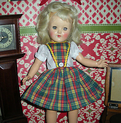 "Fits 14"" Toni P-90 Doll-Vintage Style Replica Red/Yellow/Green Plaid Dress D785"