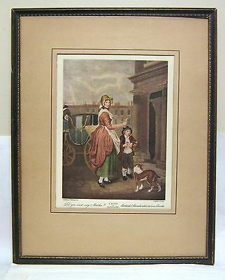Antique Poor Match Sellers of London Old Colour Engraving in Wooden Frame MINT