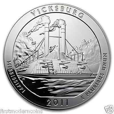 2011 Vicksburg 5 Oz .999 Silver America the Beautiful ATB Coin