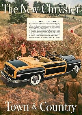 1949 Vintage Car Ad, Chrysler Town & Country Convertible