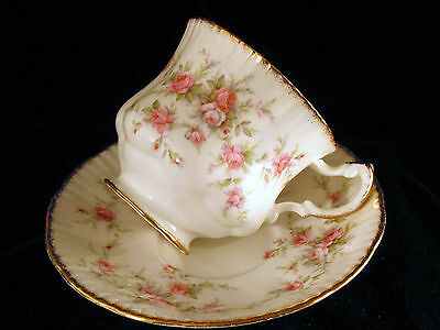 TEACUP AND SAUCER PARAGON VICTORIANA ROSE PINK ROSES  WITH GOLD TRIM