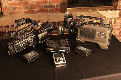 2 Cameras- JVC GY-HD100 and DVCPRO AJ D200P - Wide lens Conv, 2 Batts. and FS4