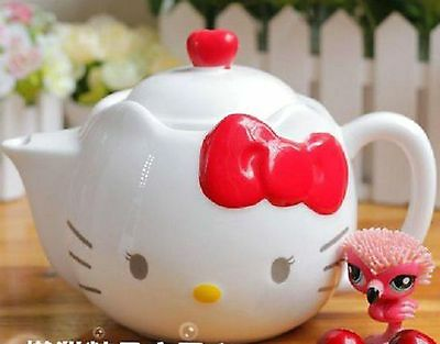 500ML Easy Office Home Use CERAMIC KITTY FACE RED BOW Design TEAPOT NICE Gift