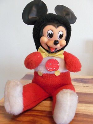 Vintage Gunderful Gund Mickey Mouse Rubber Face saw dust mechanical toy