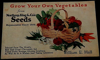 Advertising Blotter NORTHRUP KING & Co SEEDS - WILLIAM E. HALL