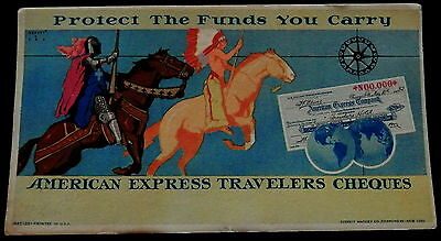 Advertising Blotter 1945 AMERICAN EXPRESS TRAVELERS CHEQUES