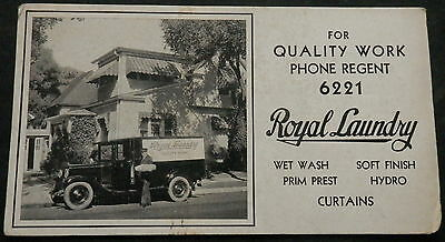 Advertising Blotter ROYAL LAUNDRY PHONE REGENT 6221 - Great Old Selivery Truck