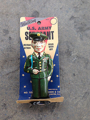 Vintage J. Chein & Co. Tin Wind-Up Walking U.S. Army Sergeant Original Package