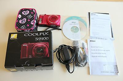 Red Nikon COOLPIX S9100 12.1 MP CMOS Digital Camera with 18x Wide Full HD