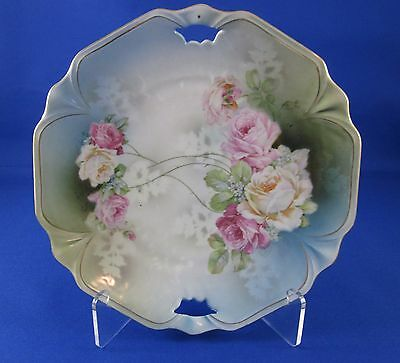 Vintage Double Handled Plate Made In Bavaria Blue Background Pink & White Roses
