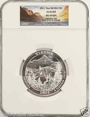 "2011 Glacier NGC MS69 DPL ""Deep Proof Like"" National Parks 5 oz Silver ATB Coin"