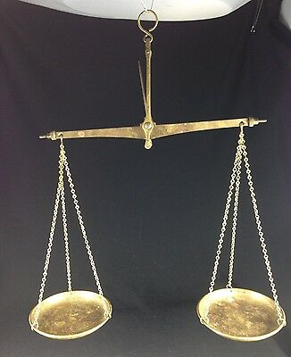 VINTAGE SOLID BRASS HANGING BALANCE JUSTICE SCALE BRASS PANS WEST GERMANY