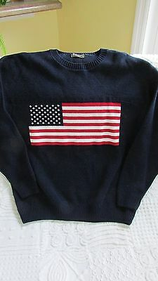 American Flag men's large L sweater navy Tag Sport  MADE IN USA