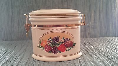 Knotts Berry Farm Cookie / Storage Jar Canister Ceramic Oval Fruit Design Hinged