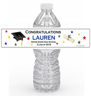 21 GRADUATION 2018 WATERPROOF Water Bottle Labels Personalized Favors
