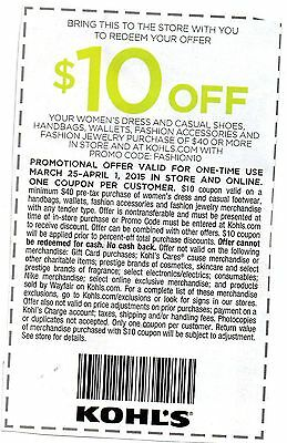 (3) Kohl's coupons, $10 off Apparel for her, $10 off Womans plus extra 15% off