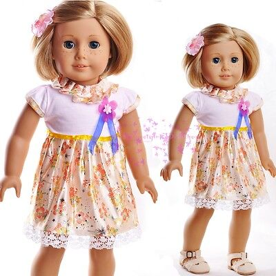 "New Doll Clothes fits 18"" American Girl Handmade Gold&Yellow Cute Skirt Dress"