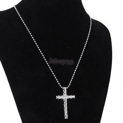 Cool Men's Silver Stainless Steel Cross Charm Pendant Long Beaded Chain Necklace