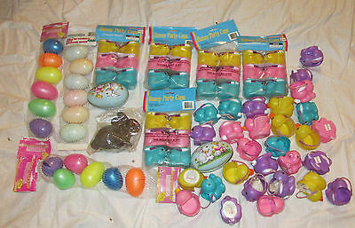 New Vtg Plastic Tin Jumbo Egg Hunt Candy Fillable Lot Bunny Candy Containers