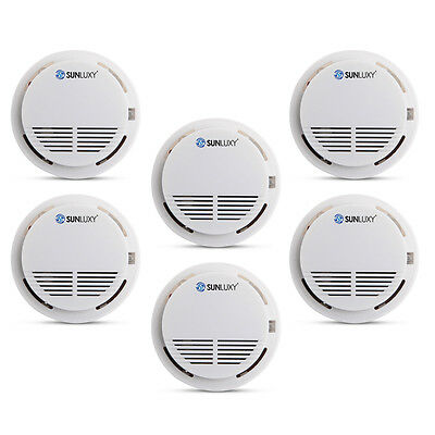 6PCS Home Security Wireless Smoke Detector Fire Alarm Photoelectric Sensor White
