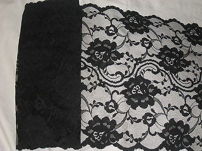 """3  yards 9 1/2"""" width double side scalloped non stretch black color floral lace"""