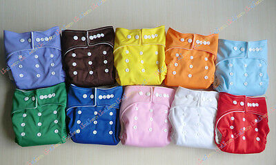 lOT New 10 PCS Adjustable Reusable One Size Baby Cloth Diaper Nappy Covers D01