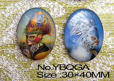 2pcs a pair of  Mask the fairy Handmade Huge Oval 40x30mm Glass Cabochon YBQGA