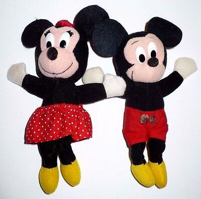 """2 VINTAGE DISNEY MICKEY & MINNIE MOUSE 7"""" PLUSH TOYS APPLAUSE WALLACE BERRIE"""