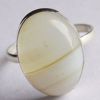 RING SIZE=8 Yellow Botswana Agate Ring 925 Sterling Silver  Jewelry ABC-818