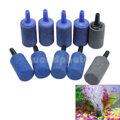 10 Pcs New Cylinder Bubble Aeration Aerator Air Stone For Aquarium Fish Tank