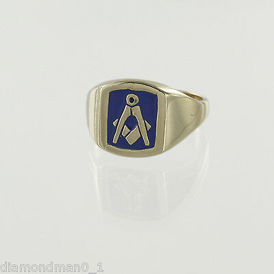 9ct Yellow Gold Square And Compass Masonic Ring with Blue Enamel
