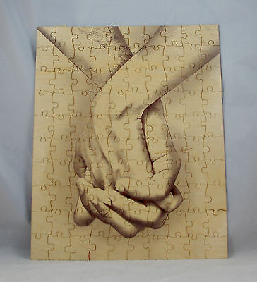 Wedding guest book alternative signing puzzle Hand in Hand Wood Puzzle NEW