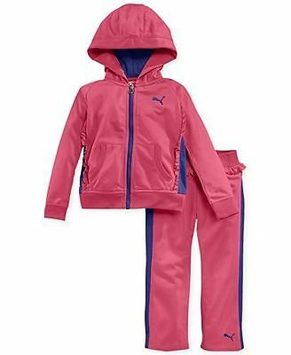 NEW PUMA GIRLS 2 Pcs JACKET and PANTS Outfit Set size 3T PINK /PURPLE TRACK SUIT