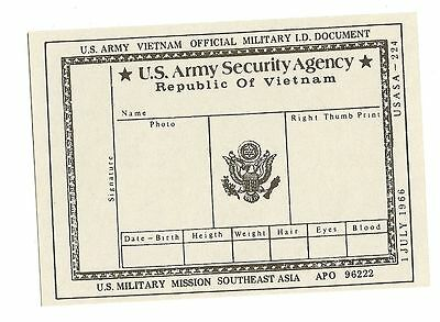 US ASA Army Security Agency ID card - Vietnam 1966 get out of jail free!