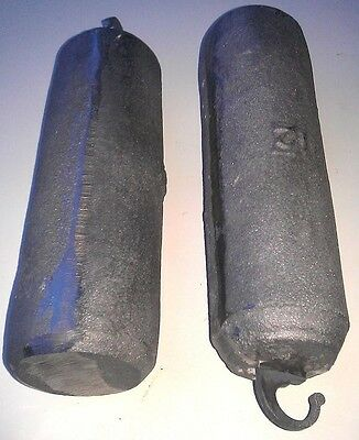 PAIR OF LONGCASE GRANDFATHER CLOCK CAST IRON WEIGHTS  NEW REPRO