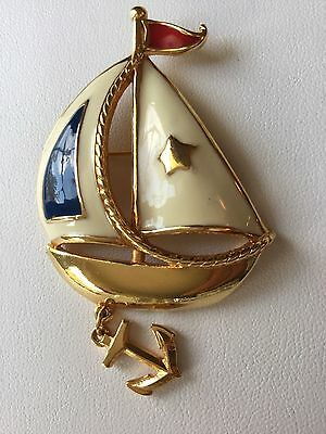 Vintage Sail Boat Brooch Signed Avon Gold Tone & Red White Blue Enamel Jewelry A