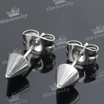 1Pair Silver Stainless Steel Spike Taper Cone Men's Earring Ear Studs Punk