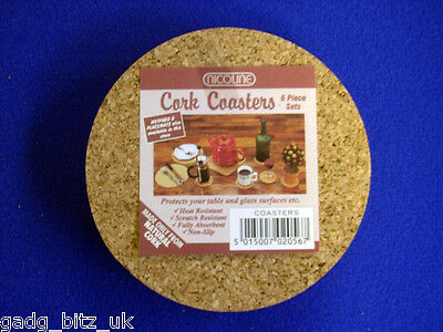 Natural Cork Coasters Mats Pack of 6 placematts NEW