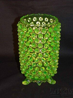 A.J. Beatty & Sons EAPG OVERALL HOBNAIL Canary/Vaseline 3 Footed Celery Vase