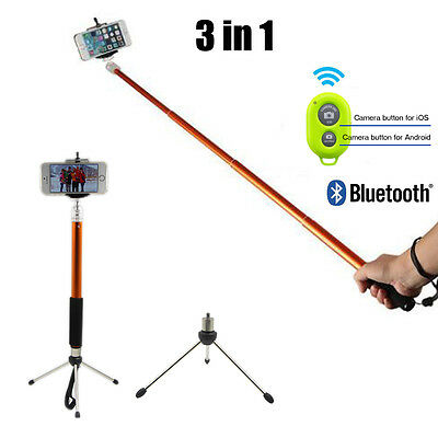 3in1 SELFIE Monopod Tripod Extendable Handheld Holder W/ Bluetooth Remote Button