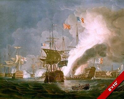 Naval Battle Of The Nile Painting French Revolutionary War Art Real CanvasPrint
