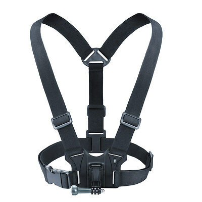 USA Gear Action Camera Chest Harness with Elastic Stretch-Fit Straps and J Hook