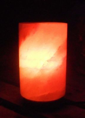 """Cylinder 6"""" Tall Himalayan Crystal Salt Lamp on silicon base with Dimmer cord"""