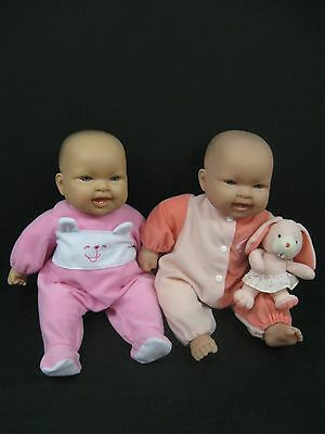 "Lot of 2 Berenguer Baby Dolls 14"" Inches Soft Body Vinyl Heads Blue Eyes 2 Teeth"