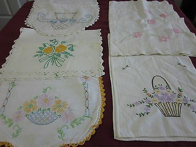 Nice Vintage 5 pc lot floral basket Embroidered Table runners Cutter lot