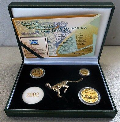 2002 Gold South Africa The Cheetah Natura 3 Coin Prestige Set 350 Issued